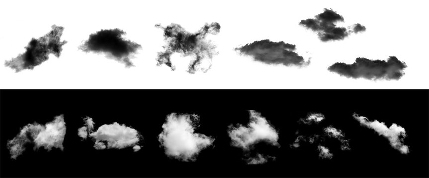 collection of white clouds and set of black cloud isolated on background for Design element,Textured Smoke,brush effect