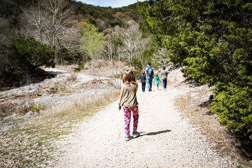 Family on a hike with kids
