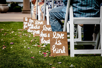 Love is kind Wedding Signs