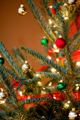 Christmas Tree with Gold and Red Ornaments