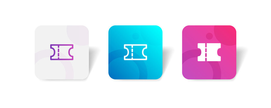 Ticket round icon in outline and solid style with colorful gradient background, suitable for UI, app button,  infographic, etc