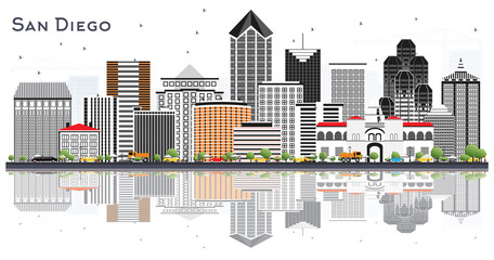 San Diego California City Skyline with Gray Buildings and Reflections Isolated on White.