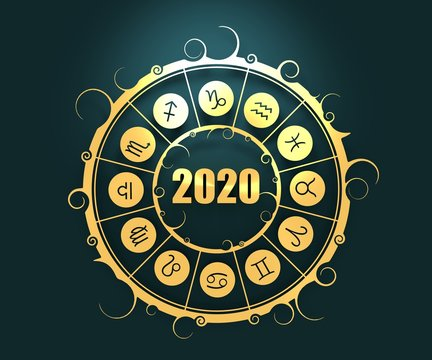 Astrological symbols in the circle. . New Year and Christmas celebration card template. Zodiac circle with 2020 new year number. 3D rendering