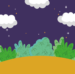 Tuinposter Aubergine landscape night stars clouds sky bushes