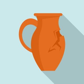 Cracked jug icon. Flat illustration of cracked jug vector icon for web design