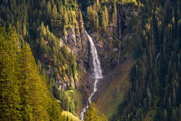 waterfall deep in the mountains