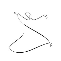 Foto auf AluDibond One Line Art Abstract, minimalistic, line art whirling dervish figure. Hand drawn, one line, printable, wall art illustration.