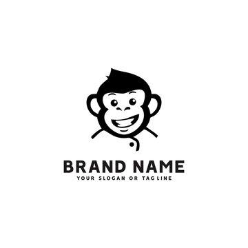 monkey logo design vector template white background