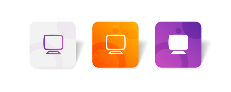 Monitor screen round icon in outline and solid style with colorful smooth gradient background, suitable for UI, app button,  infographic, etc