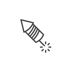 Fireworks rocket line icon. linear style sign for mobile concept and web design. Firecracker, explosive outline vector icon. Symbol, logo illustration. Vector graphics
