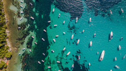 Foto op Plexiglas Nice Overhead aerial drone view of yachts in mediterranean sea in summer sunny day near Nice, cote d'azur, south France