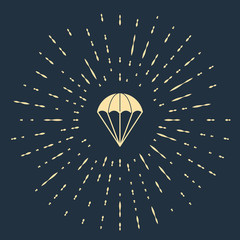 Beige Parachute icon isolated on dark blue background. Abstract circle random dots. Vector Illustration