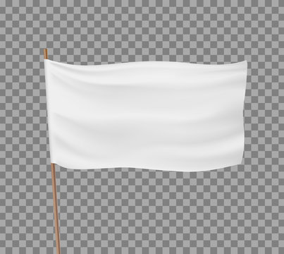 Blank white flag isolated on a transparent background
