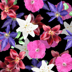 Fototapete - Beautiful floral background of clematis, lilies and petunias. Isolated
