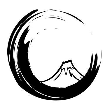 富士山の手描きイラスト素材 ベクター 縁起物 正月