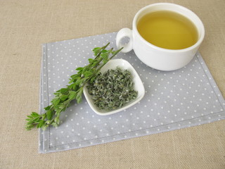 A cup of tea with scotch broom