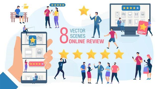 Client Online Review Flat Vector Concept Set