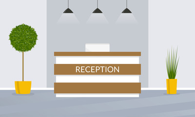 Reception desk. Office, hotel lobby interior design. Vector illustration.