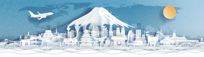 Fototapete - Panorama postcard and travel poster of world famous landmarks of Japan with Fuji mountain in paper cut style vector illustration