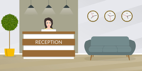 Reception desk with female receptionist. Office, hotel lobby interior design. Vector illustration.