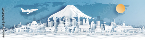 Fototapete Panorama postcard and travel poster of world famous landmarks of Japan with Fuji mountain in paper cut style vector illustration