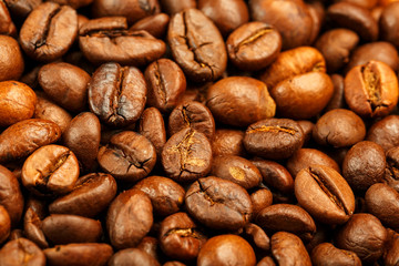 Fresh and aromatic roasted coffee beans, can be used as background.