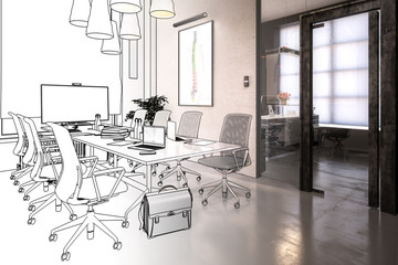 Office Design: Meeting Area (drawing) - 3d illustration