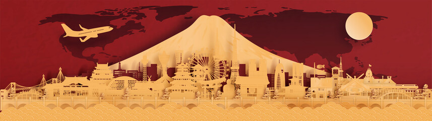 Fototapete - Panorama postcard and travel poster of world famous landmarks of Japan in gold, paper cut style vector illustration