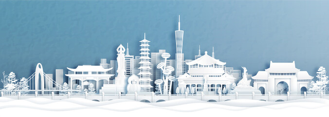 Fototapete - Panorama view of Guangzhou skyline with world famous landmarks of China in paper cut style vector illustration.