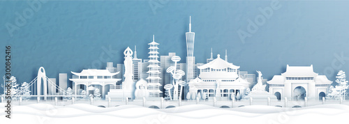 Fototapete Panorama view of Guangzhou skyline with world famous landmarks of China in paper cut style vector illustration.