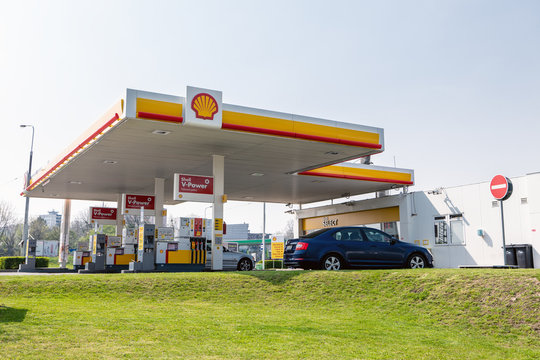Shell gas station with Skoda Octavia car with plenty of different offered fuels