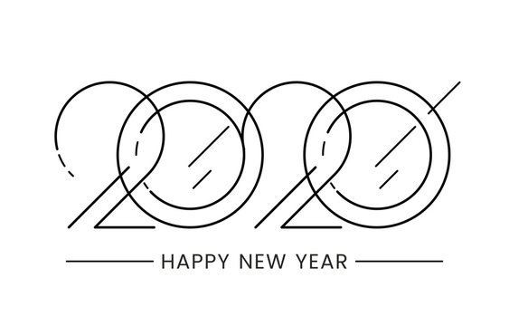 2020 logo design in line style. Happy New Year text. Isolated on white background. Brochure design template, card, calendar, diary, or banner. Stock vector illustration for your design.
