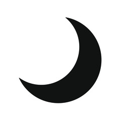 Flat style nighttime half moon icon. Lunar night. Crescent logo symbol. Vector illustration image. Isolated on white background.