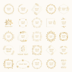 Collection of golden wedding branding with floral elements. Wreaths and frames for feminine design. Vector isolated.
