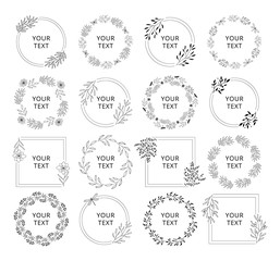Wedding branding frames. Circle and squared elegant borders with floral elements. Vector isolated illustration.
