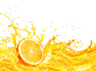 Foto op Canvas Sap Orange juice splashing with its fruits isolated on white background