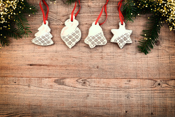 Christmas decoration on wooden background, copy space.