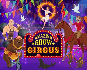 Big top circus show. Trained animals, performers