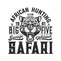 Hunting sport emblem, jaguar and big five hunt
