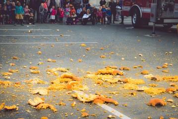 firefighters smashing pumpkins