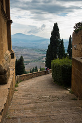 Viewpoint from a stairway at city walls of Pienza to surrounding landscape, Siena province, Tuscany, Italy