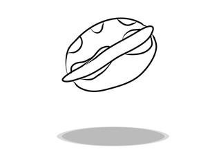 Hot dog icon, flat design, hand drawing. Illustration food, contour of symbol black