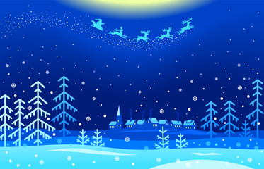 Foto op Plexiglas Donkerblauw An illustration of Santa Claus flying across a snowy landscape in the Christmas night