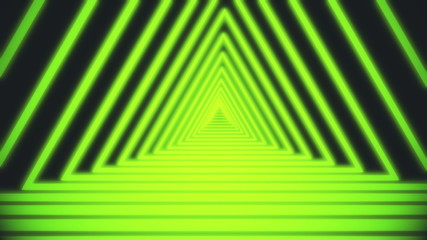 Bright white lines are crossing and forming neon triangle tunnel on black background. Geometric motion background of narrow neon crossed stripes. 3D rendering 4k video.
