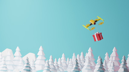 3D rendering,The yellow drone sends a gift box to the customer by flying over the forest. Colorful 3d rendering holiday christmas new year concept
