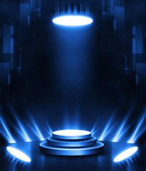 3D Rendering abstract circle battle arena empty stage in spotlights entertainment