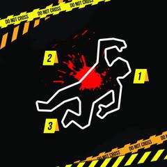 Crime scene vector illustration. Сhalk outline of the body and bloodstain.