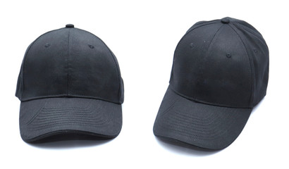 Baseball cap black with shadow templates, front views isolated on white background. Mock up. Front and side view