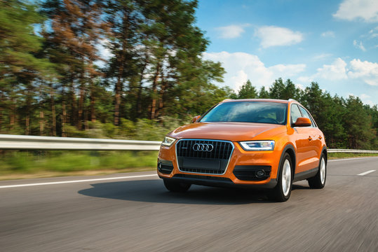 Audi Q3 in motion on highway