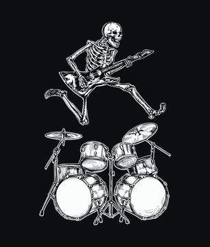 Skeleton jumps over the drum kit plays rock guitar sticker vector